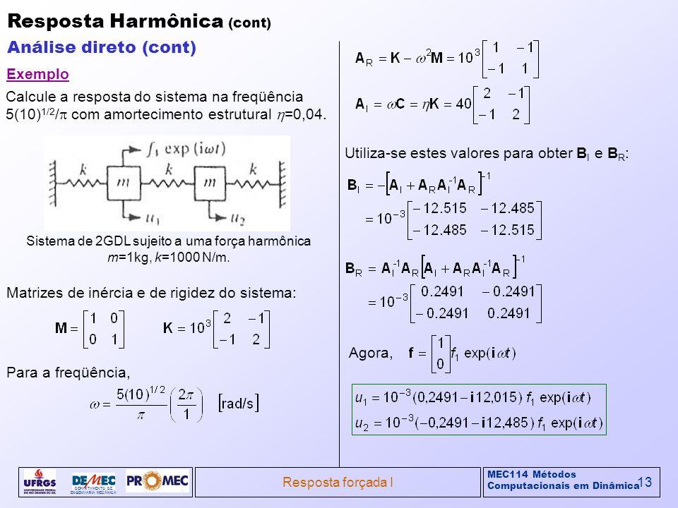 Sistema de 2GDL sujeito a uma força harmônica m=1kg, k=1000 N/m.