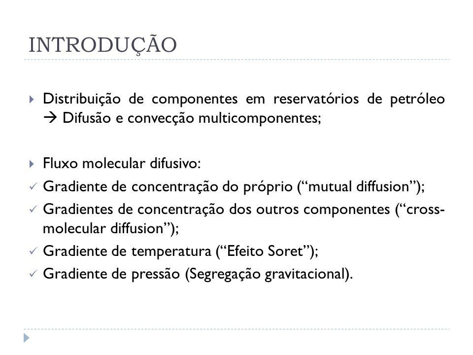 INTRODUÇÃO Distribuição de componentes em reservatórios de petróleo  Difusão e convecção multicomponentes;