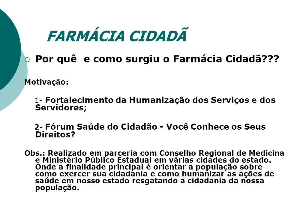 FARMÁCIA CIDADÃ Por quê e como surgiu o Farmácia Cidadã Motivação: