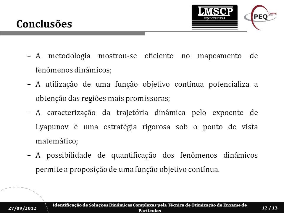 Conclusões A metodologia mostrou-se eficiente no mapeamento de fenômenos dinâmicos;
