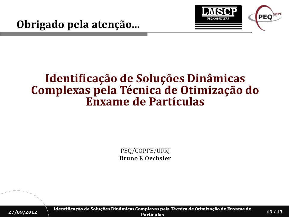 Obrigado pela atenção... Identificação de Soluções Dinâmicas Complexas pela Técnica de Otimização do Enxame de Partículas.