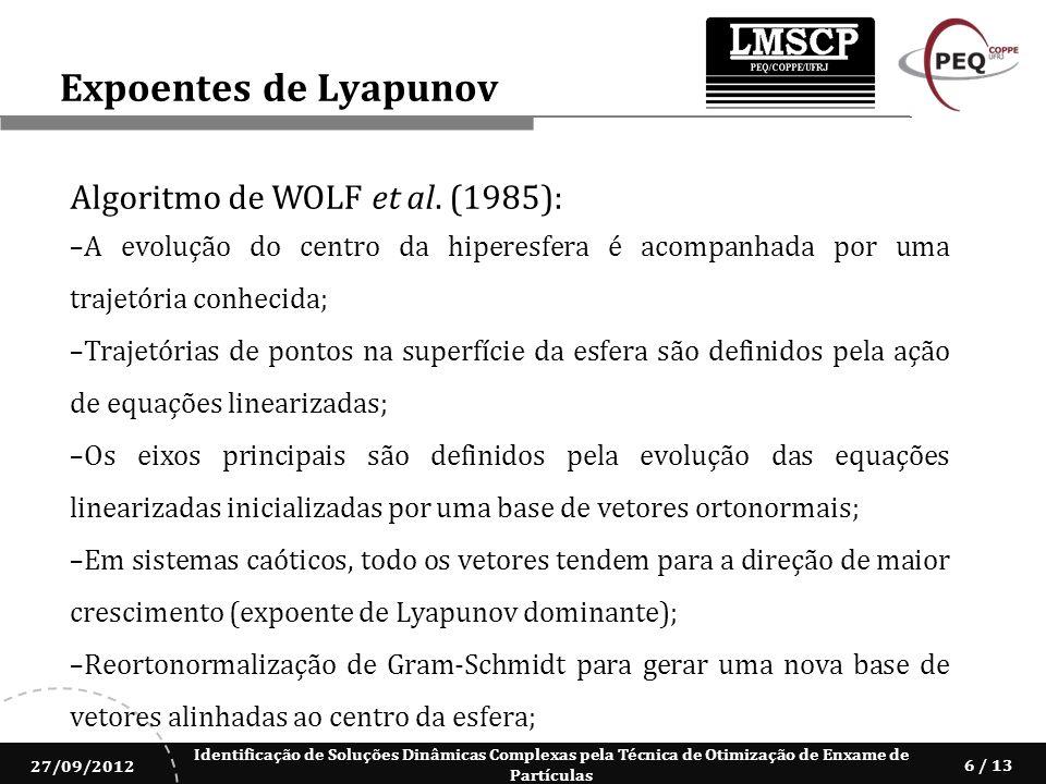 Expoentes de Lyapunov Algoritmo de WOLF et al. (1985):