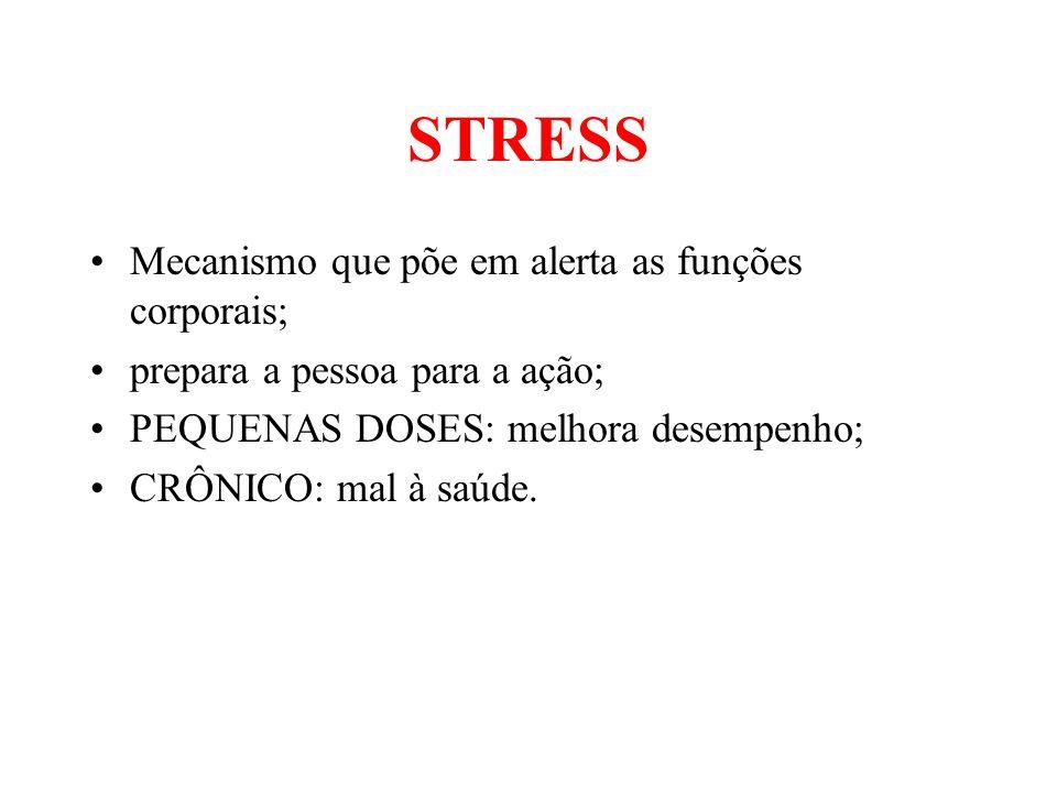 STRESS Mecanismo que põe em alerta as funções corporais;