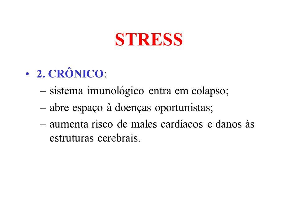 STRESS 2. CRÔNICO: sistema imunológico entra em colapso;