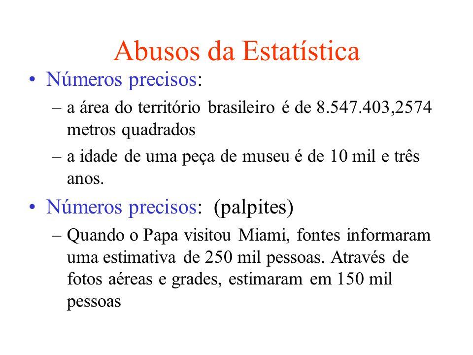 Abusos da Estatística Números precisos: Números precisos: (palpites)