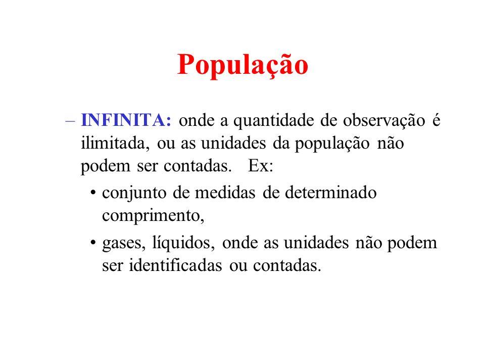 PopulaçãoINFINITA: onde a quantidade de observação é ilimitada, ou as unidades da população não podem ser contadas. Ex: