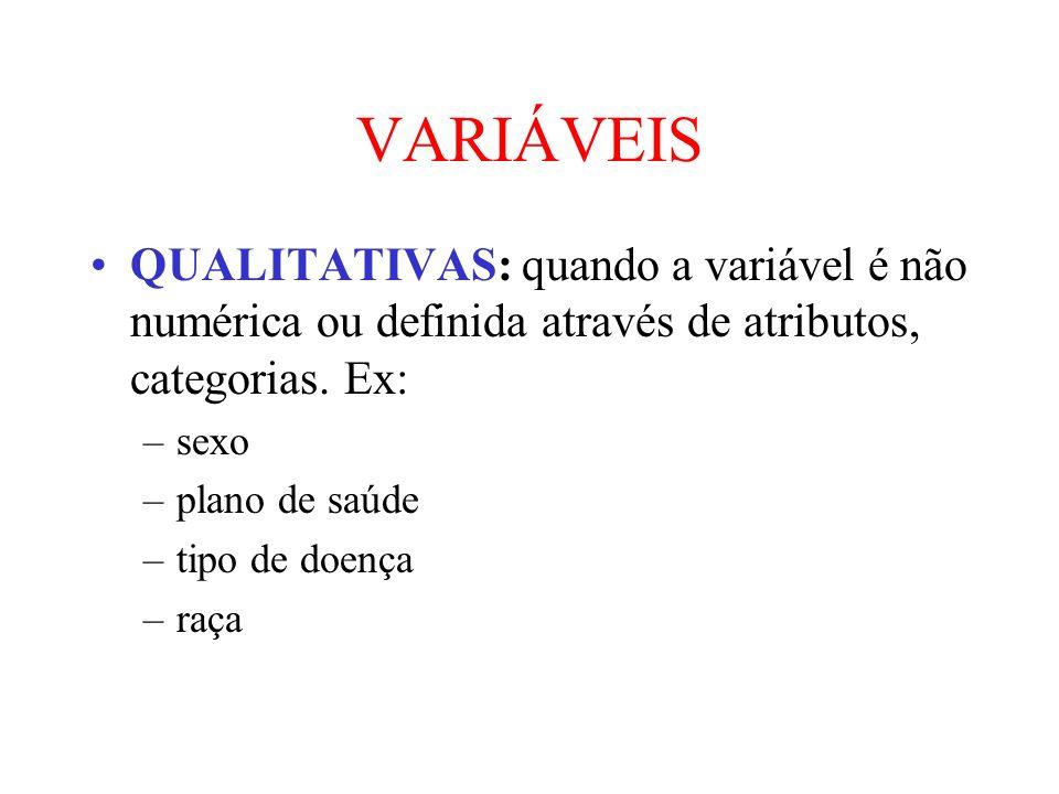 VARIÁVEISQUALITATIVAS: quando a variável é não numérica ou definida através de atributos, categorias. Ex: