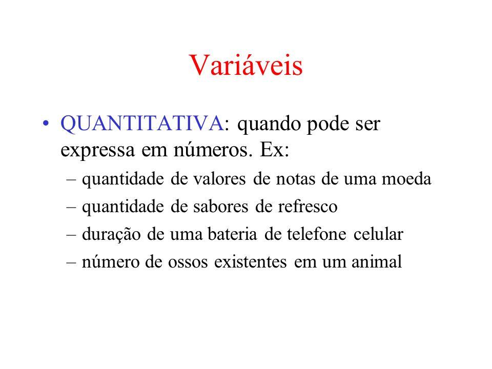 Variáveis QUANTITATIVA: quando pode ser expressa em números. Ex: