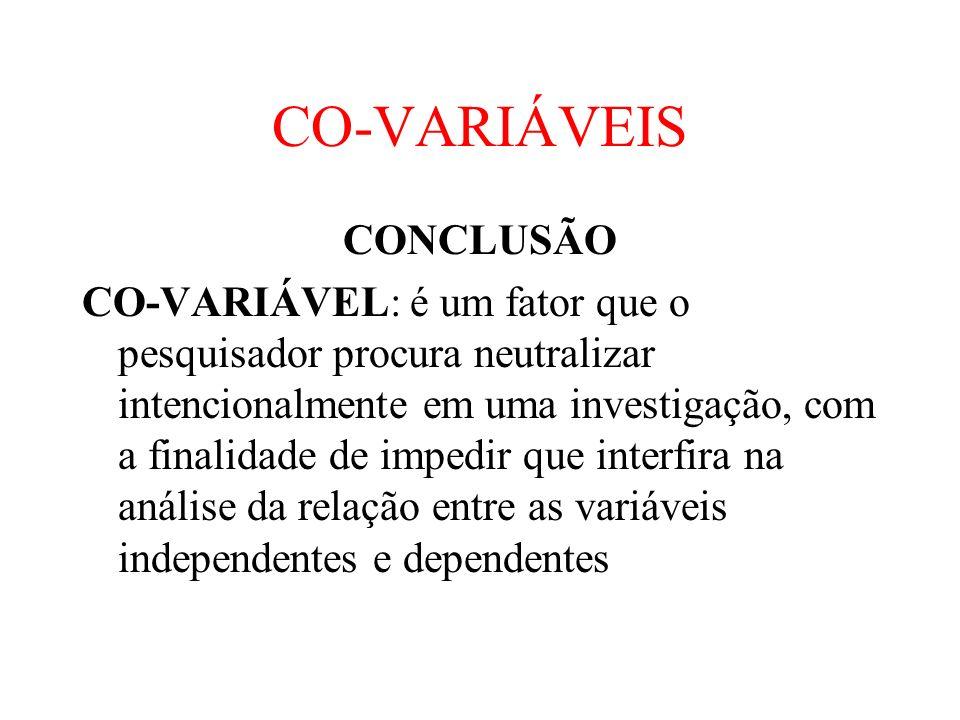 CO-VARIÁVEIS CONCLUSÃO
