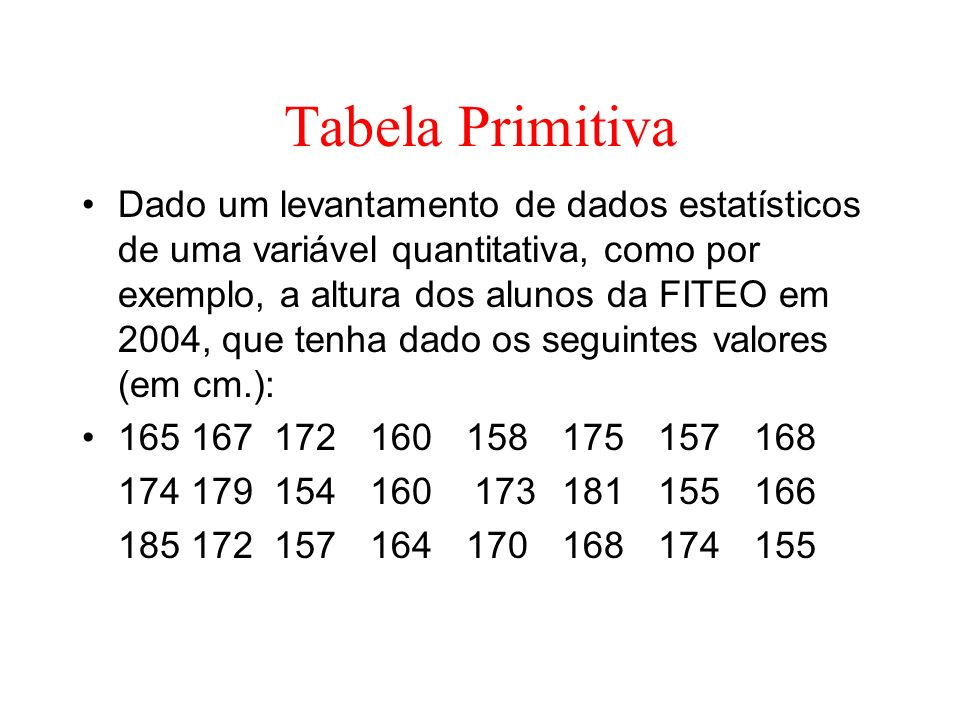 Tabela Primitiva
