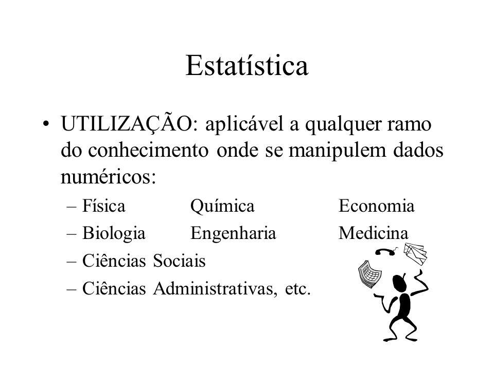 Estatística UTILIZAÇÃO: aplicável a qualquer ramo do conhecimento onde se manipulem dados numéricos: