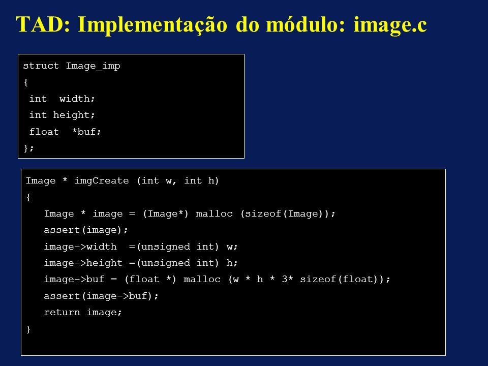 TAD: Implementação do módulo: image.c