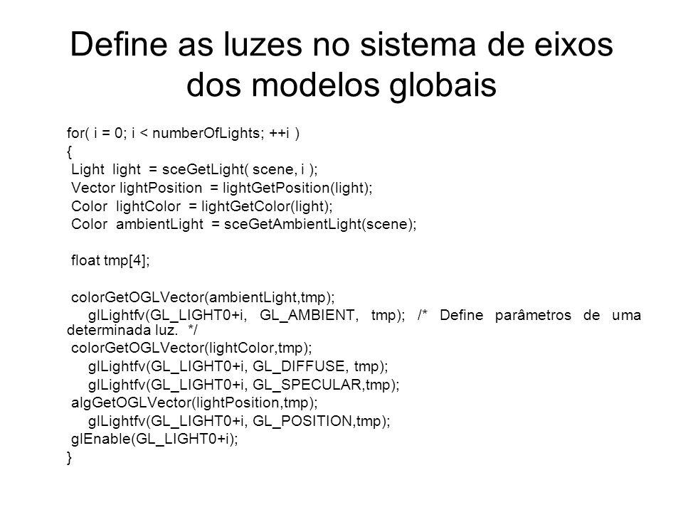 Define as luzes no sistema de eixos dos modelos globais