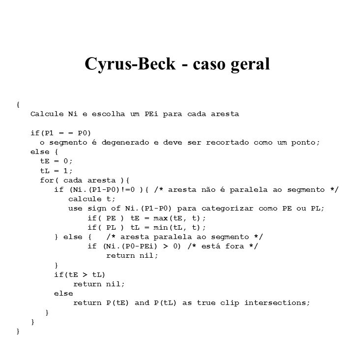 Cyrus-Beck - caso geral
