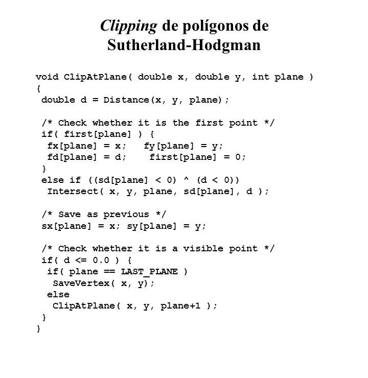 Clipping de polígonos de Sutherland-Hodgman