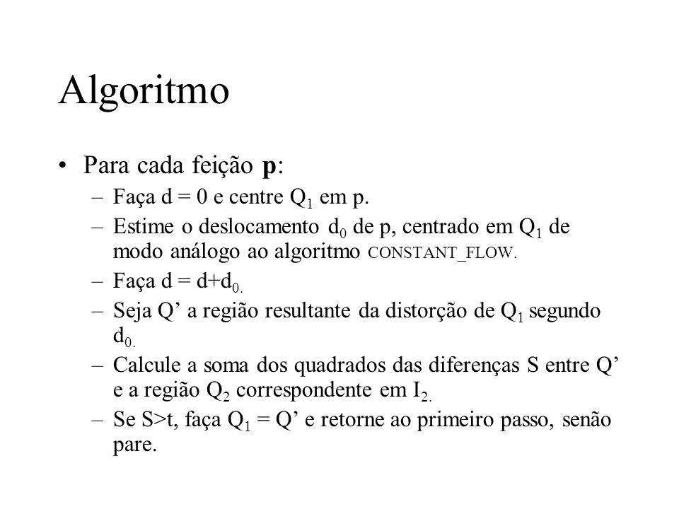Algoritmo Para cada feição p: Faça d = 0 e centre Q1 em p.