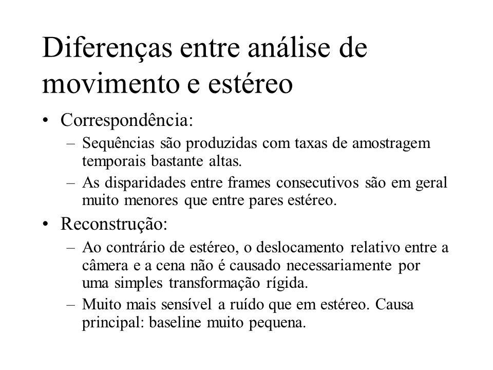 Diferenças entre análise de movimento e estéreo