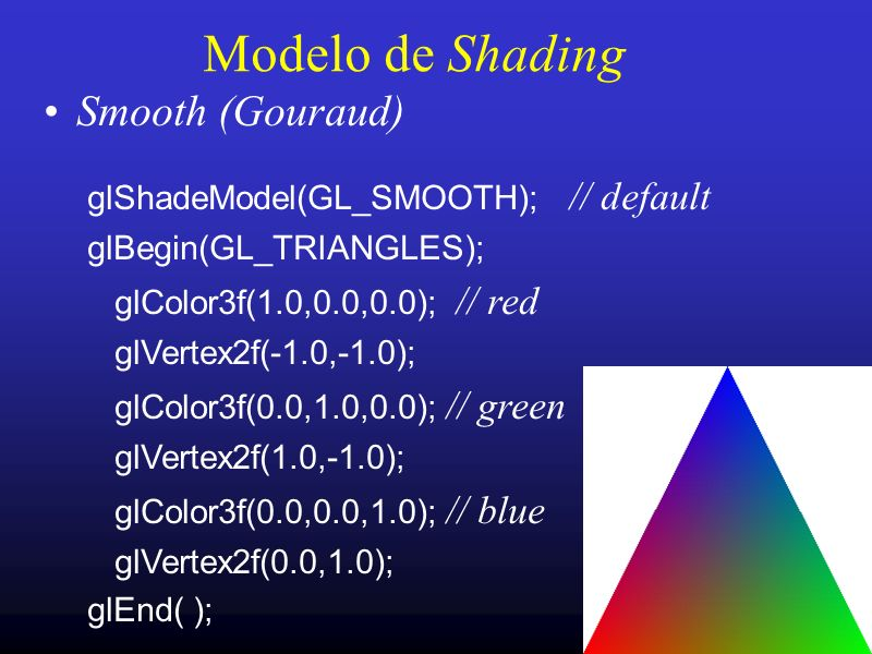 Modelo de Shading Smooth (Gouraud) glShadeModel(GL_SMOOTH); // default