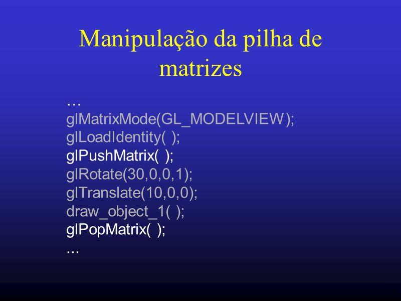 Manipulação da pilha de matrizes