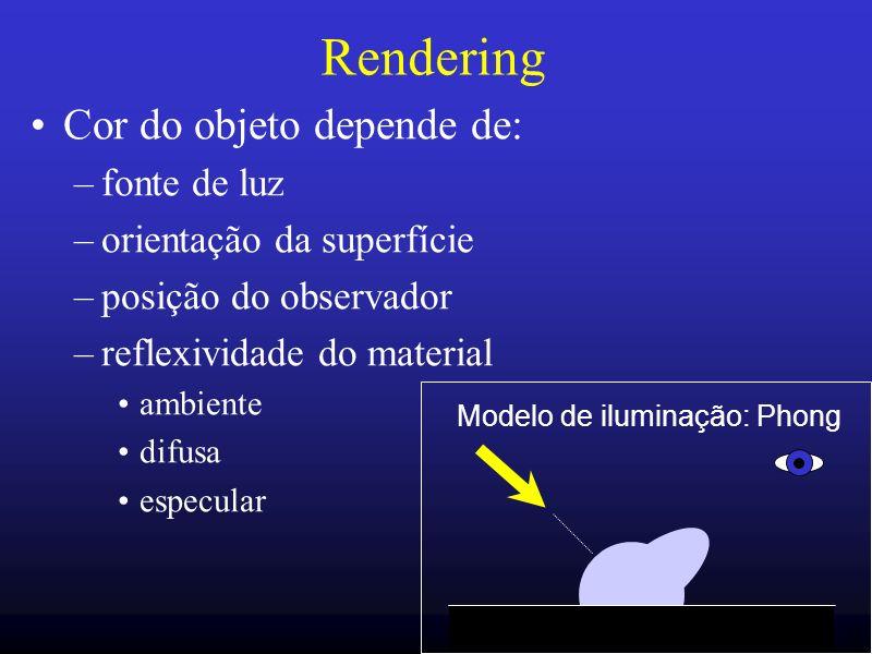 Rendering Cor do objeto depende de: fonte de luz