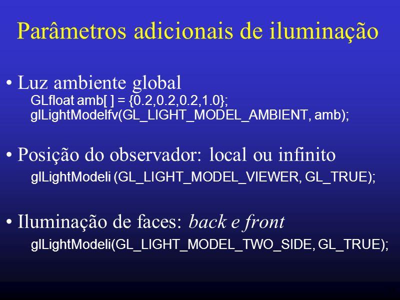 Parâmetros adicionais de iluminação