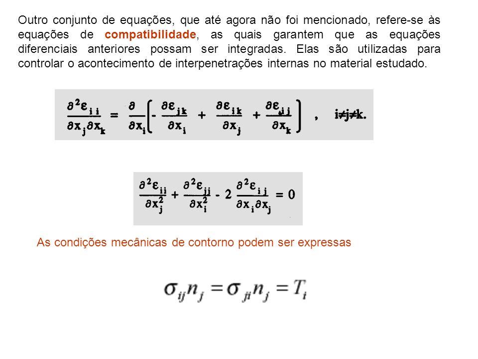 Outro conjunto de equações, que até agora não foi mencionado, refere-se às equações de compatibilidade, as quais garantem que as equações diferenciais anteriores possam ser integradas. Elas são utilizadas para controlar o acontecimento de interpenetrações internas no material estudado.