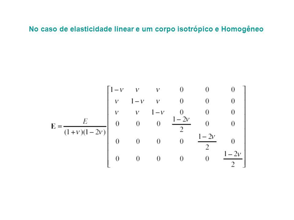 No caso de elasticidade linear e um corpo isotrópico e Homogêneo