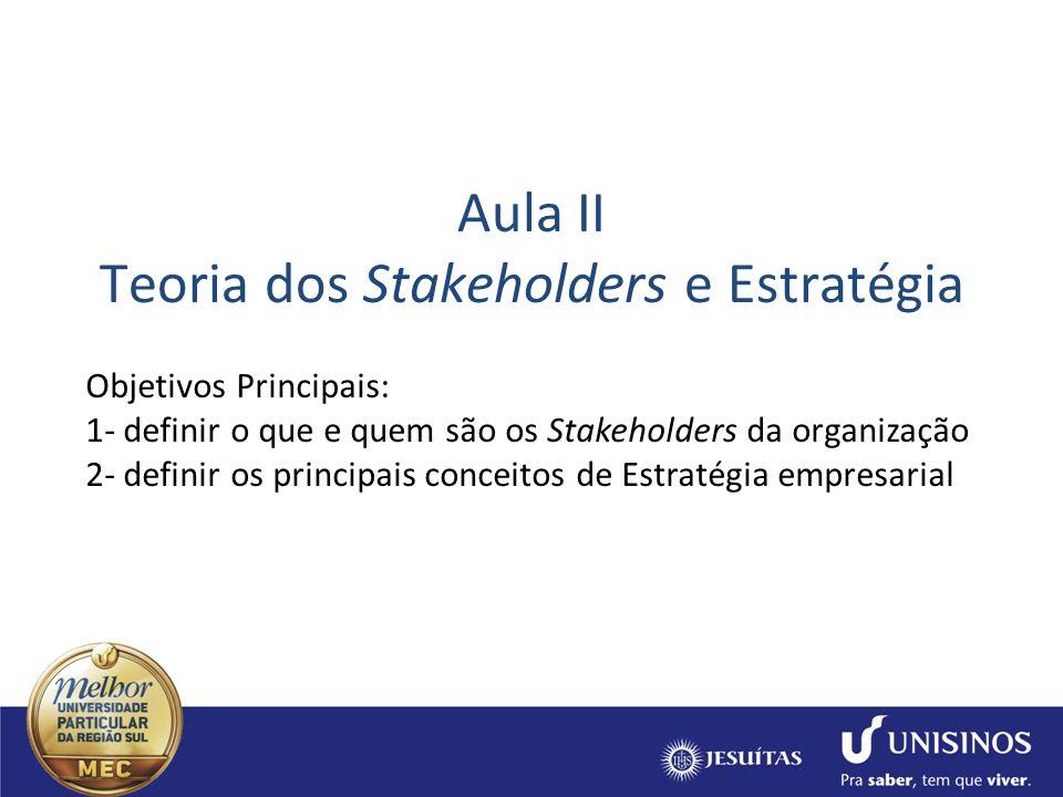 Aula II Teoria dos Stakeholders e Estratégia
