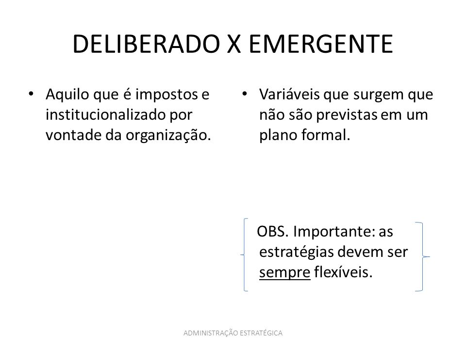 DELIBERADO X EMERGENTE