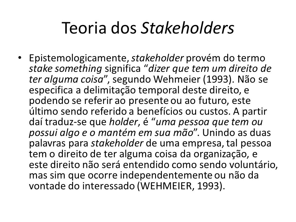 Teoria dos Stakeholders