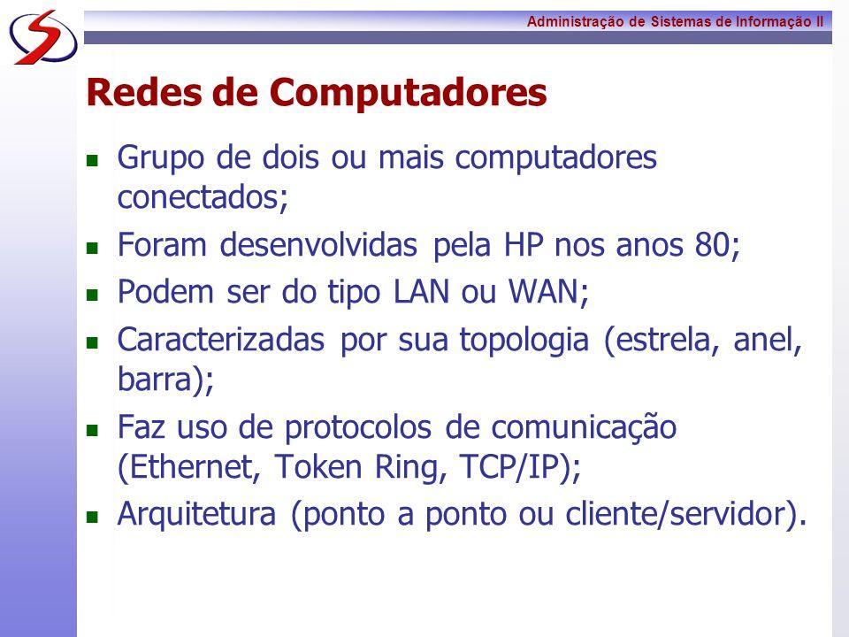 Redes de Computadores Grupo de dois ou mais computadores conectados;