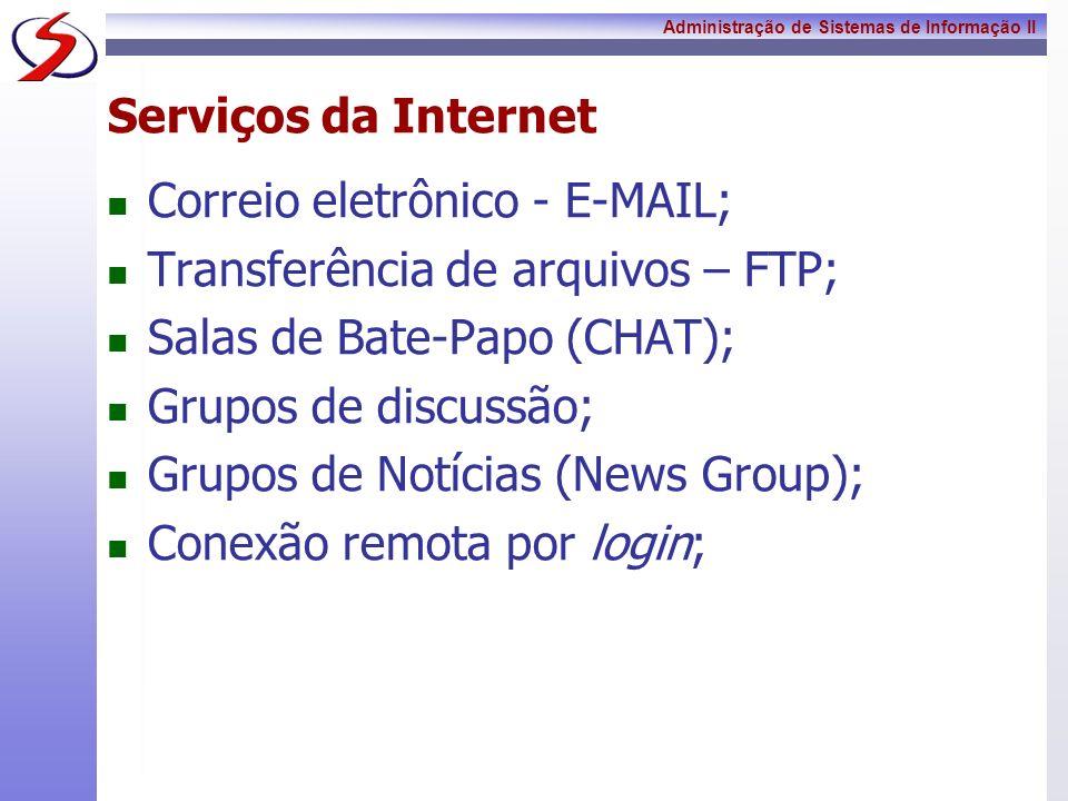 Serviços da InternetCorreio eletrônico - E-MAIL; Transferência de arquivos – FTP; Salas de Bate-Papo (CHAT);