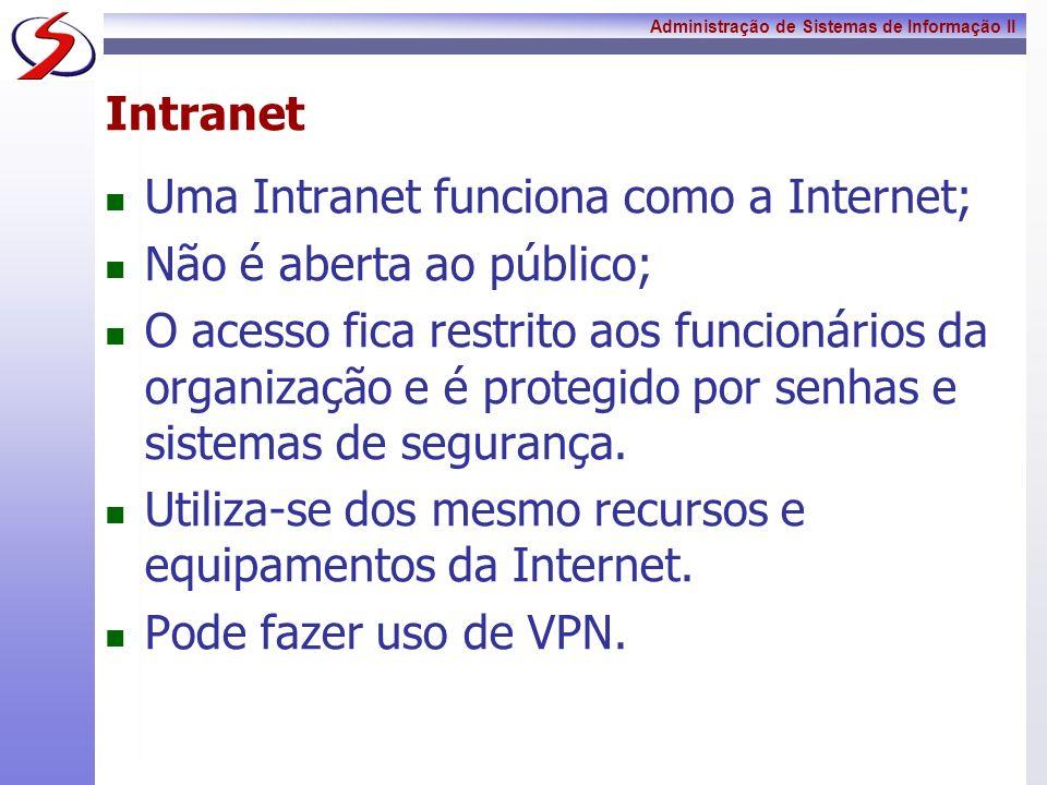 IntranetUma Intranet funciona como a Internet; Não é aberta ao público;