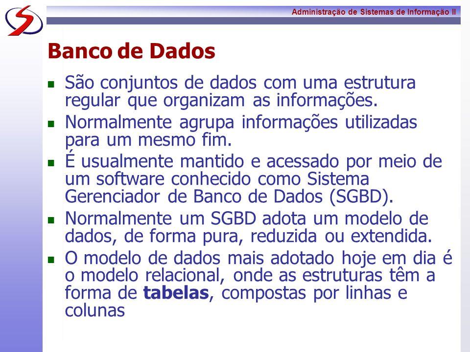 Banco de DadosSão conjuntos de dados com uma estrutura regular que organizam as informações.