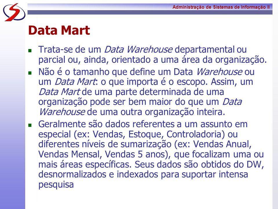 Data MartTrata-se de um Data Warehouse departamental ou parcial ou, ainda, orientado a uma área da organização.