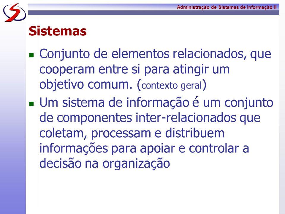 SistemasConjunto de elementos relacionados, que cooperam entre si para atingir um objetivo comum. (contexto geral)