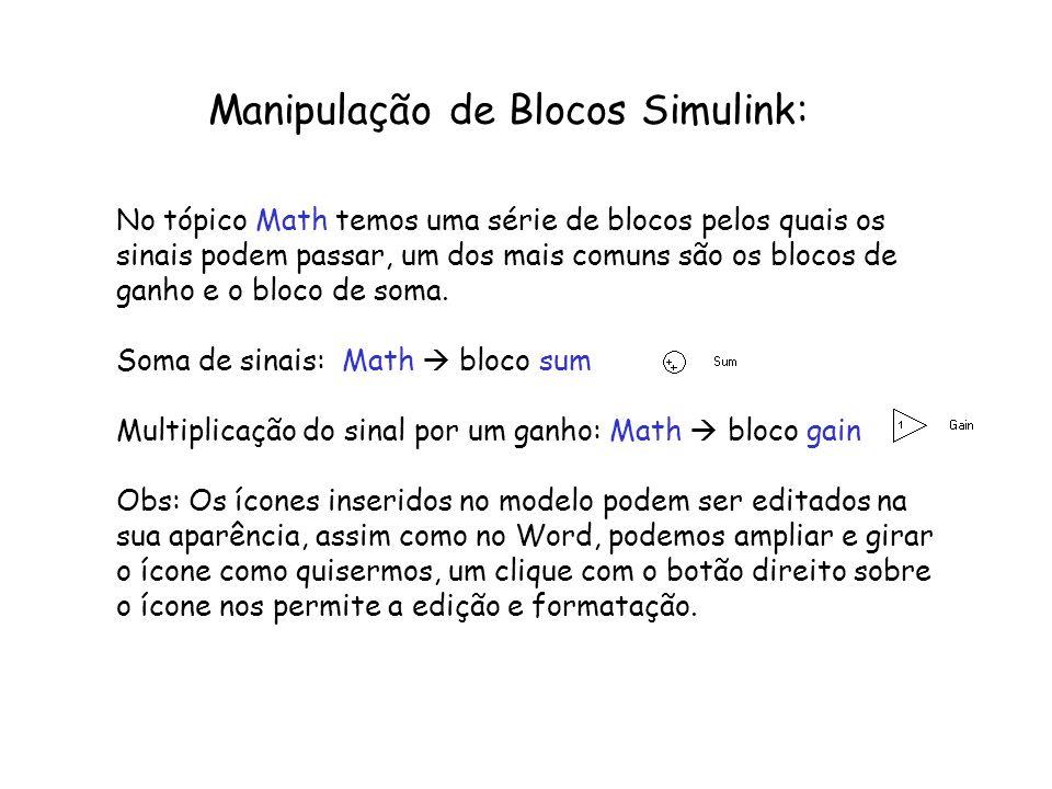 Manipulação de Blocos Simulink: