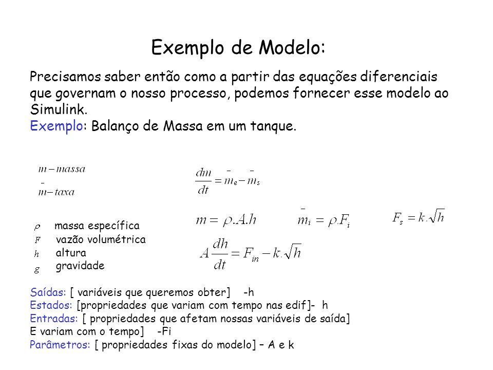 Exemplo de Modelo: Precisamos saber então como a partir das equações diferenciais. que governam o nosso processo, podemos fornecer esse modelo ao.