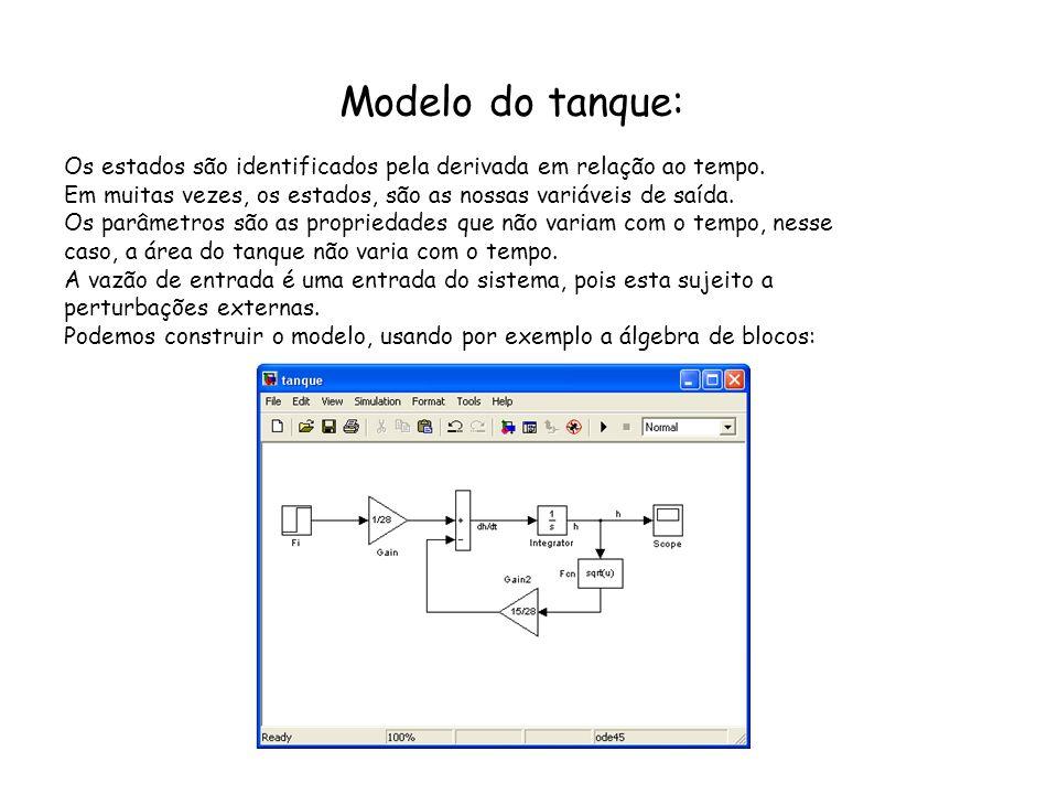Modelo do tanque: Os estados são identificados pela derivada em relação ao tempo. Em muitas vezes, os estados, são as nossas variáveis de saída.