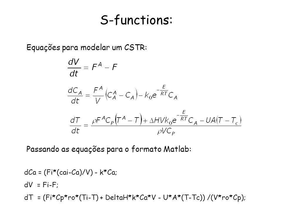 S-functions: Equações para modelar um CSTR:
