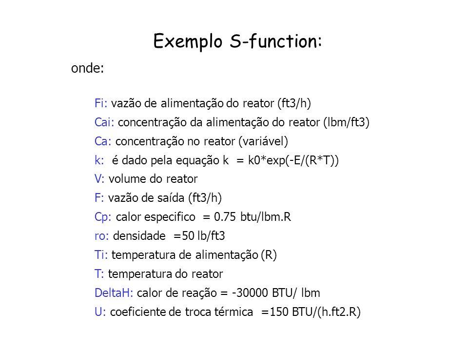 Exemplo S-function: onde: Fi: vazão de alimentação do reator (ft3/h)