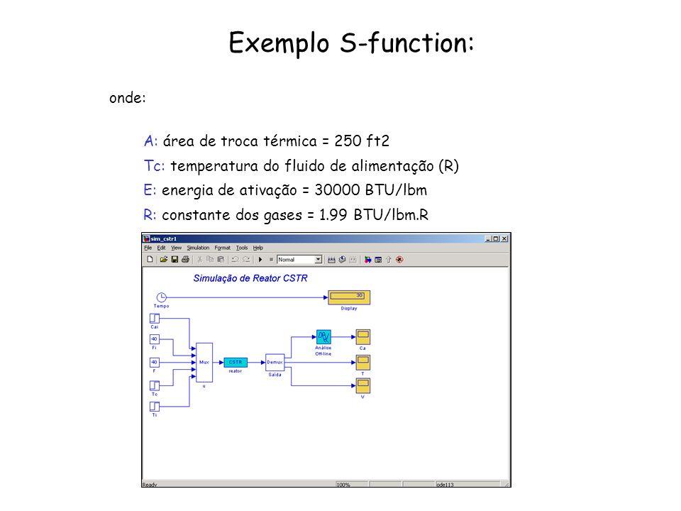Exemplo S-function: onde: A: área de troca térmica = 250 ft2