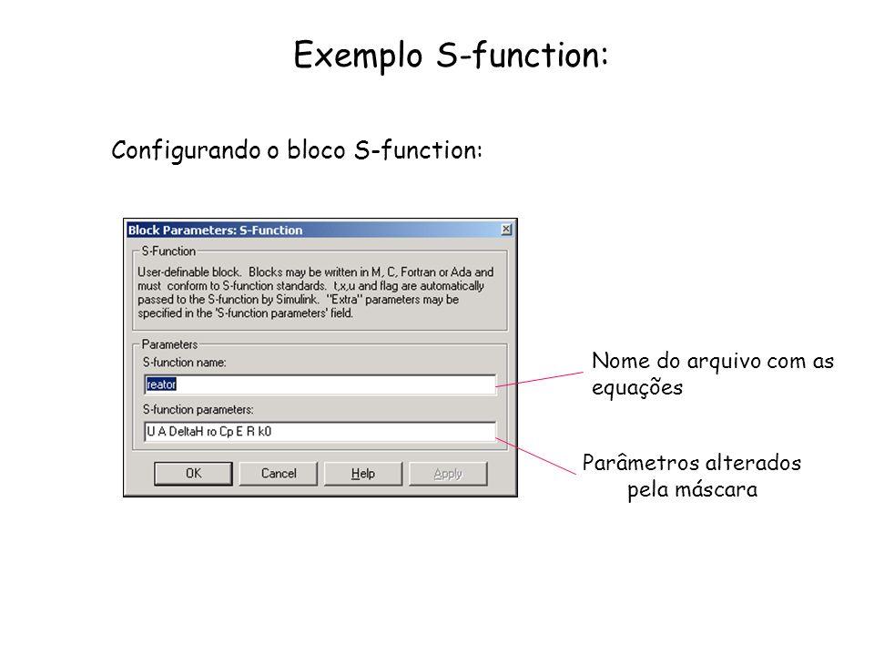 Exemplo S-function: Configurando o bloco S-function: