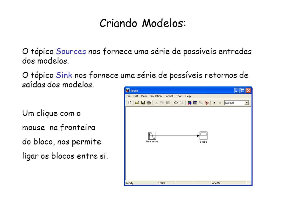 Criando Modelos: O tópico Sources nos fornece uma série de possíveis entradas dos modelos.