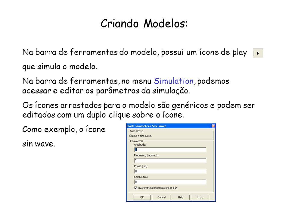 Criando Modelos: Na barra de ferramentas do modelo, possui um ícone de play. que simula o modelo.