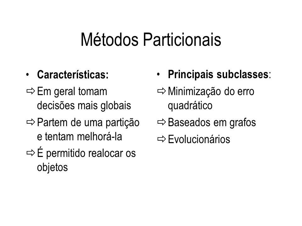 Métodos Particionais Características: