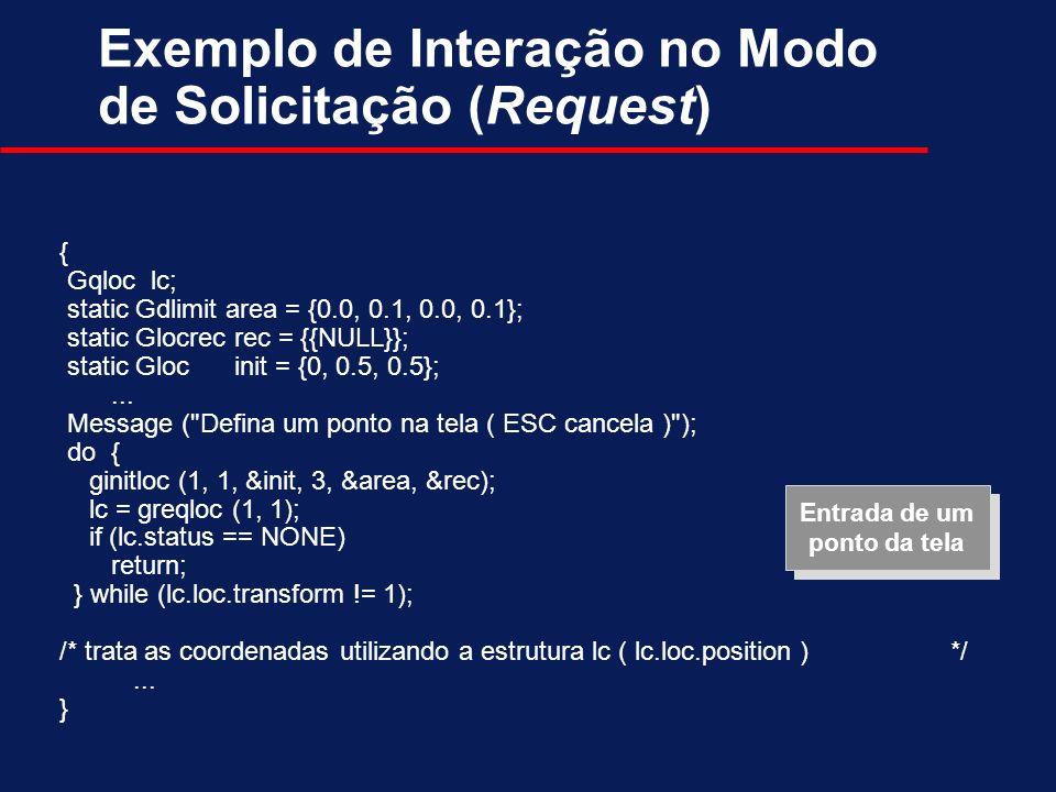 Exemplo de Interação no Modo de Solicitação (Request)
