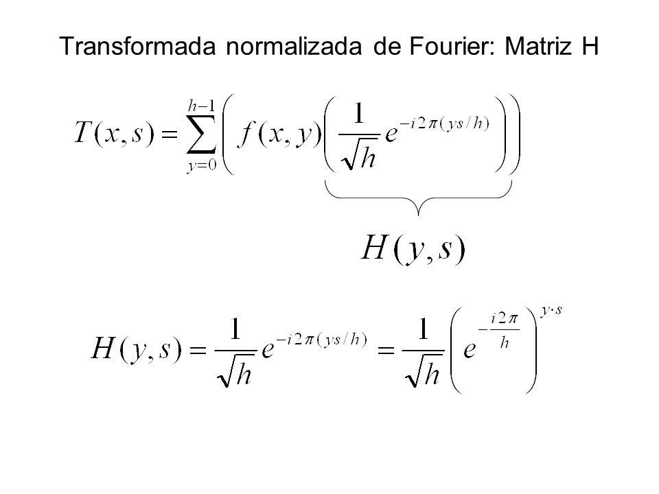 Transformada normalizada de Fourier: Matriz H