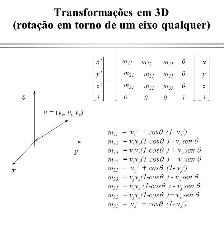 Transformações em 3D (rotação em torno de um eixo qualquer)