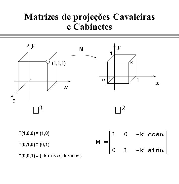 Matrizes de projeções Cavaleiras e Cabinetes